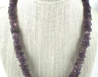 Amethyst Nugget Choker Necklace Polished Nugget Beaded Necklace