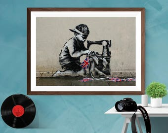 Banksy '' The Slave Labour '' Artwork Home decor Print Poster Canvas / Silk / Matt