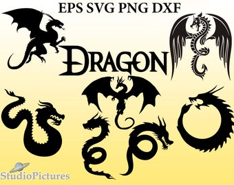 Dragons Svg, clipart  Dragon cut files, png, svg files for cricut, cameo, clipart dragon tattoo scrapbook, dragon dxf, dragon silhouette svg