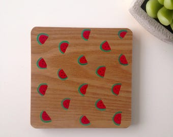 Wooden,solid wood, watermelon patterned coasters. hand painted, MADE TO ORDER. Drinking gifts, gifts for her, gifts for him.