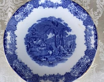 Rare Heathcote English Scenery Plate Flow Blue China 1900s