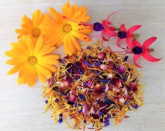 Organic Edible Flowers, Culinary Sprinkle.. Calendula/Cornflower/Rose Petal/Forget Me Not/Fuschia/Safflower...