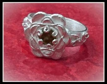 Silver Flower Detailed CZ Ring - Silver Precious Metal Clay (PMC), Handmade, Ring - (Product Code: ACM099-17)