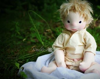 """CUSTOM 16"""" Weighted Baby style Natural Fiber Art Doll, Waldorf Inspried, Baby Doll, Collectible, OOAK, Handmade, Heirloom"""