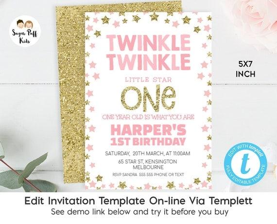 Twinkle Twinkle Little Star 1st Birthday Invitation 1st Birthday