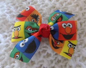 Sesame Street Character Hair Bow - Girl's hair bow, Hair bow for girl, Baby hair bow, Hair bow for toddler, Hair accessories, Hair bow