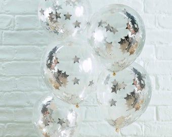 Silver Star Confetti Balloons, Holiday Season Balloons, Clear Confetti Balloons, Baby Shower, Christmas, Party, Wedding Balloons, 5 Pack