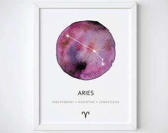 Aries Constellation Art Print, Aries Print, Aries Watercolor Print, Nursery Constellation Poster, Zodiac Constellation Poster, Aries Gift