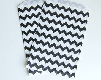 Chevron Party Treat Bags - Black