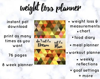 Printable PDF Weight Loss Planner l Food Diary l Meal Planner l Fitness Planner l Planner Inserts l Don't Make It A Dream, Make It A Plan