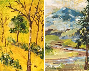 Set of Two Tiny Paintings / 2 Vintage Landscape Paintings /Original Signed Art / Landscape Paintings with Trees