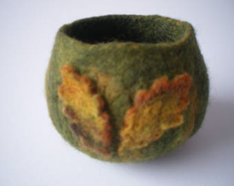 Moss green wet felted trinket pot with oak leaf motif