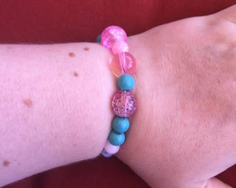 Pink and blue beaded bracelets!