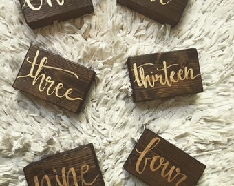 Wedding Sign, Table Numbers, wooden table numbers