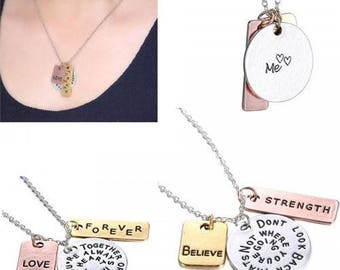 Believe Pendant necklace with 3 inspirational plates