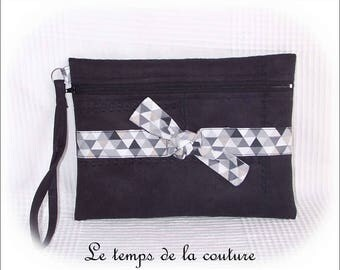 Pouch clutch - black, grey, white and beige tones - imitation leather - with strap - handmade.