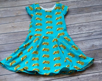 School Bus Dress. Bus Dress. Back to School Dress. Toddler Dress. Little Girl Dress. Twirl Dress. Twirly Dress. Play Dress.