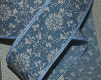 "Vintage Cornflower Blue Ribbon, 1.5"" wide Wedding, Shabby Chic ,Bridal, craft , ribbon, trim, sewing supplies, cake ribbon, French Ribbon"