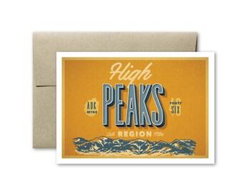 High Peaks Greeting Card, Adirondacks Greeting Card, High Peaks Card, Vintage Greeting Card, Upstate New York Card, Adirondacks Card