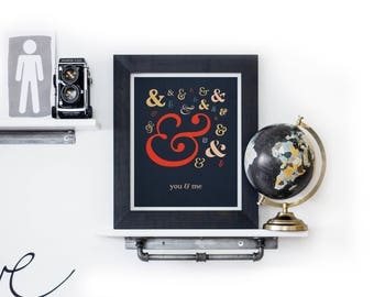 You & Me Print, Ampersand Print, You and Me Ampersand Print