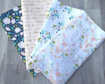 Baby Burp cloths/ Baby Girl Burp Cloth Set/ Deer Baby Burp Cloth/ Woodland Baby/ Baby Girl Gift/ Baby Girl Burp Cloth/ Burp cloth