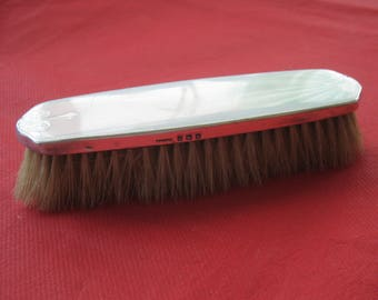 Lovely Art Deco Sterling Silver Guilloche Enamel Clothes Brush