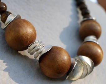 Natural wood beads necklace - Sterling silver necklace - Modern chunky necklace