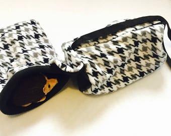 XL EZ Access Sleeping Bag AND Peekaboo Travel Pouch - Black White Checker Zig Zags
