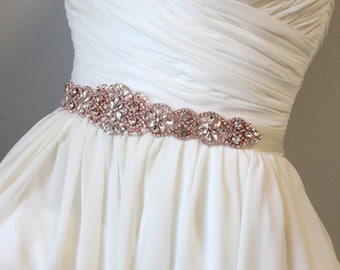 Rose Gold Rhinestone Sash | Wedding Crystal Sash | Bridal Gown Belt | Couture Brides Belt, SB-012