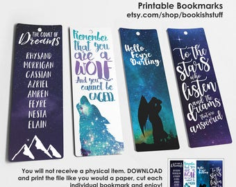 A Court of Thorns and Roses Bookmarks, Bookish Bookmarks, ACOWAR Printable Bookmarks