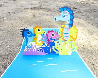 Seahorses 3D Pop Up Card, Seahorses card, Seahorses 3D card, handmade card, seahorses mother's day card,  seahorses birthday card, kids card