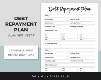 Debt Repayment Plan, Printable Planner Insert, Bill Due, Opening Balance, Credit Limit, Finance Planner, Debt Tracker, A4, A5, US Letter