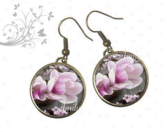 Magnolia earrings pink flowers on canvas garden spring, MOM gift
