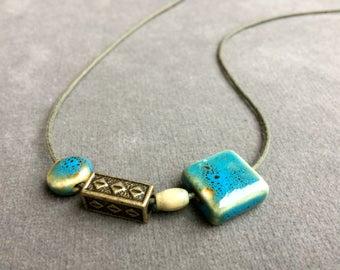 asymmetric Blue ceramic necklace