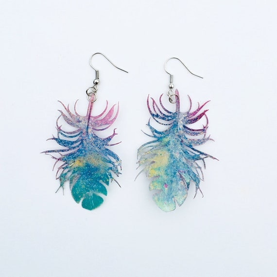 Camouflage - Feather airy earrings - Feather drops earrings - Trending jewelry - Feather jewelry - Rockabilly Jewelry -  Feather earrings