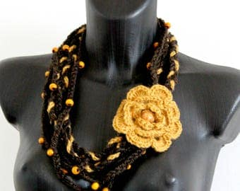 Crocheted statement necklace, Boho necklace