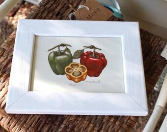 Vintage Bell Pepper Print - White Frame