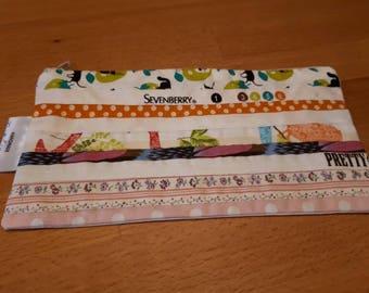 Handmade 'Salvage' edge zip purse, pencil case, cosmetic purse, brush holder.