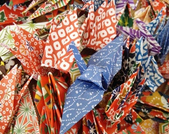 Ready to ship!100 3''Multicolored  Flower Origami paper crane,Make a wish,Washi Chiyogami,Cute Origami crane,wedding,party,Decoration,Card