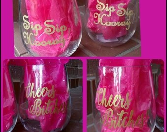 Acrylic Stemless Wine Glasses Set (2)