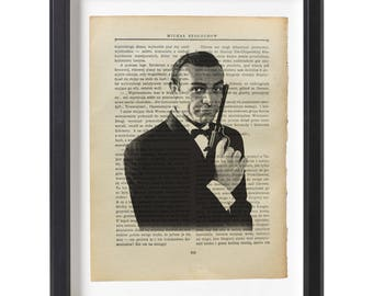 James Bond art print Sean Connery illustration beautifully upcycled  old book (1915) page art print