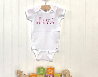Diva Infant Bodysuit, New Baby Girl, New Baby Gift, 6 months, one piece bodysuit, Baby Shower Gift, It's a Girl, Baby Girl Clothes, Diva