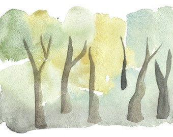 Forest. Original watercolor