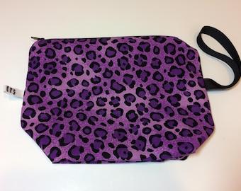 "9"" Purple Animal Print Wedge bag"