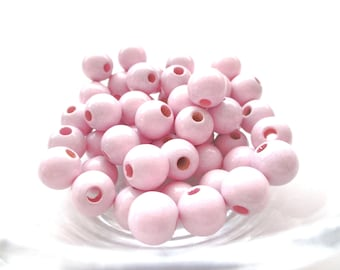 25 beads 12mm - Rose Tendre pacifier wooden