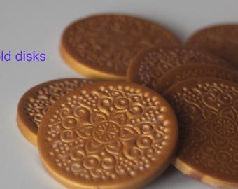 Gold polymer clay disks or tags (x3)