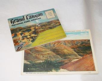Vintage GRAND CANYON & ARIZONA Postcards with fold out Postcard