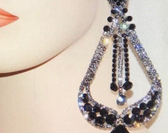 Jet Black Onyx Austrian Crystal  Chandelier Earrings