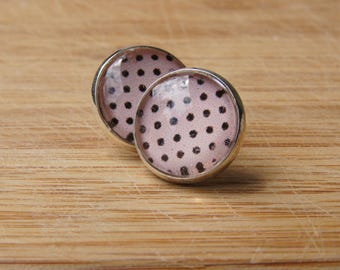 dots, pink, black, polkadots / silvery studs / cabochon 14 mm / trendy, modern