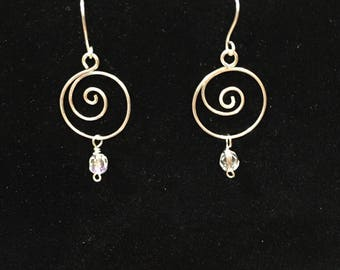 Silver plated spiral wire earrings